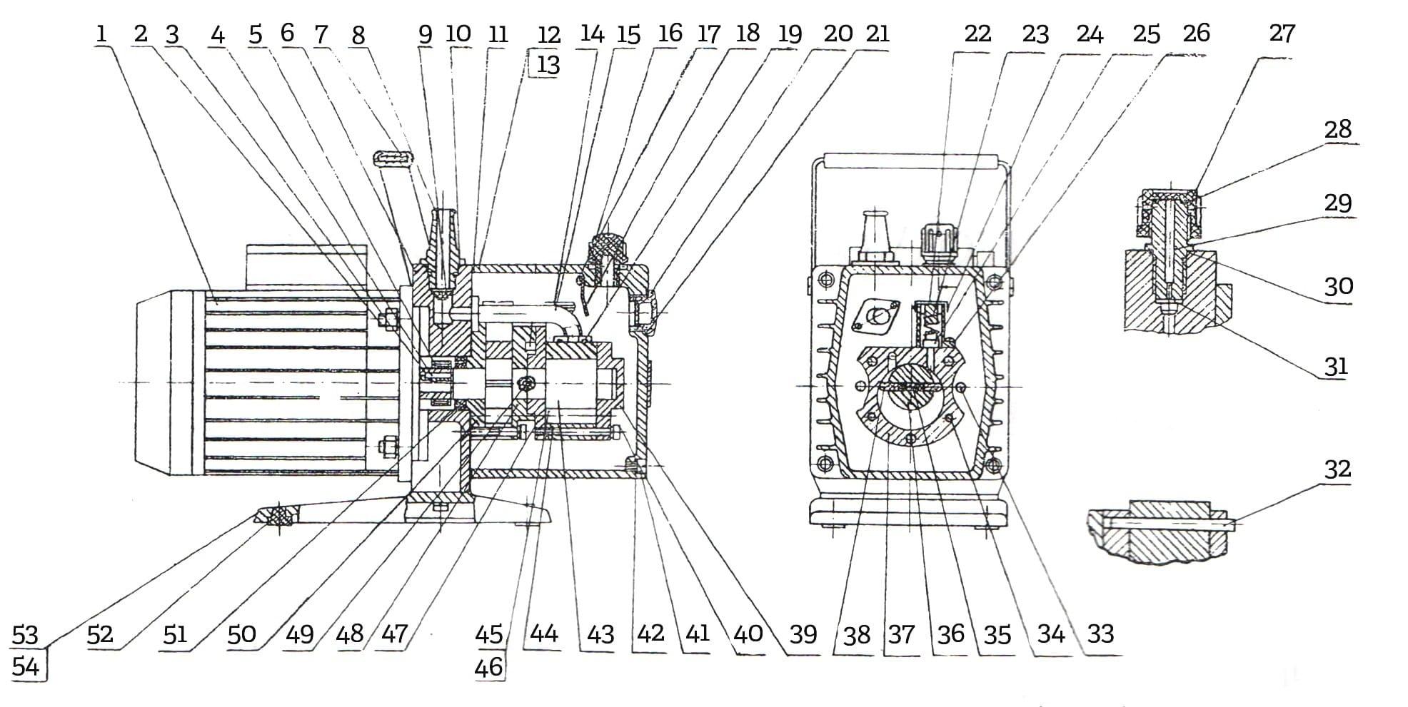 Конструкция вакуумного пластинчато-роторного насоса НВР